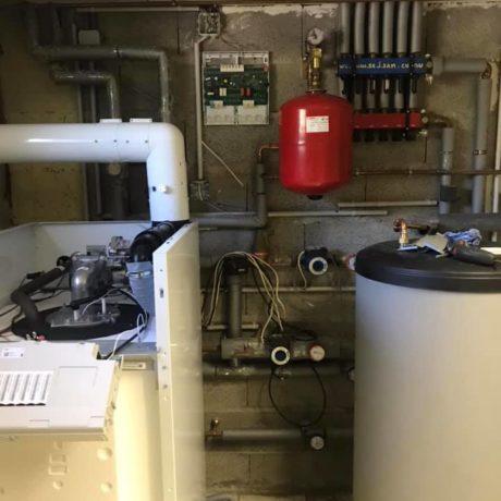 Remplacement d'une chaudière gaz atmosphérique sur cheminée par une chaudière gaz à condensation sur ventouse avec une régulation pour 2 circuits sur Bartenheim